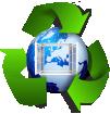 mundo con ventana reciclado 100 x 100